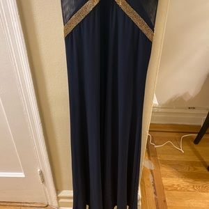 Betsy & Adam Dresses - Navy blue floor length dress with gold accent